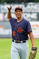 Bowling Green Hot Rods outfielder Eleardo Cabrera (25) warms up in the outfield prior to a Midwest League game against the Wisconsin Timber Rattlers on July 22, 2018 at Fox Cities Stadium in Appleton, Wisconsin. Bowling Green defeated Wisconsin 10-5. (Brad Krause/Four Seam Images)