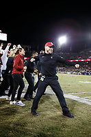 Stanford, CA - November 18, 2017: Sidelines cheer during the Stanford vs California football game Saturday night at Stanford Stadium.<br /> <br /> The Stanford Cardinal defeated the California Golden Bears 17 to 14.