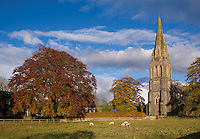 Autumn trees and church at Clitheroe, Lancashire.