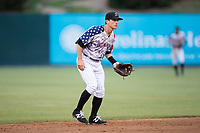 Kannapolis Intimidators shortstop Grant Massey (28) on defense against the Asheville Tourists at Kannapolis Intimidators Stadium on May 5, 2017 in Kannapolis, North Carolina.  The Tourists defeated the Intimidators 5-1.  (Brian Westerholt/Four Seam Images)