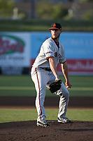 Matt Krook (46) of the San Jose Giants pitches against the Inland Empire 66ers at San Manuel Stadium on April 8, 2017 in San Bernardino, California. (Larry Goren/Four Seam Images)