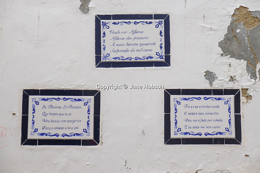 Lisbon, Portugal. 21.03.2015. Hand-painted tiles in the Alfama district of Lisbon. © Jane Hobson.