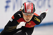 1st February 2019, Dresden, Saxony, Germany; World Short Track Speed Skating; 500 meters women in the EnergieVerbund Arena. Qu Chunyu from China runs in a curve.