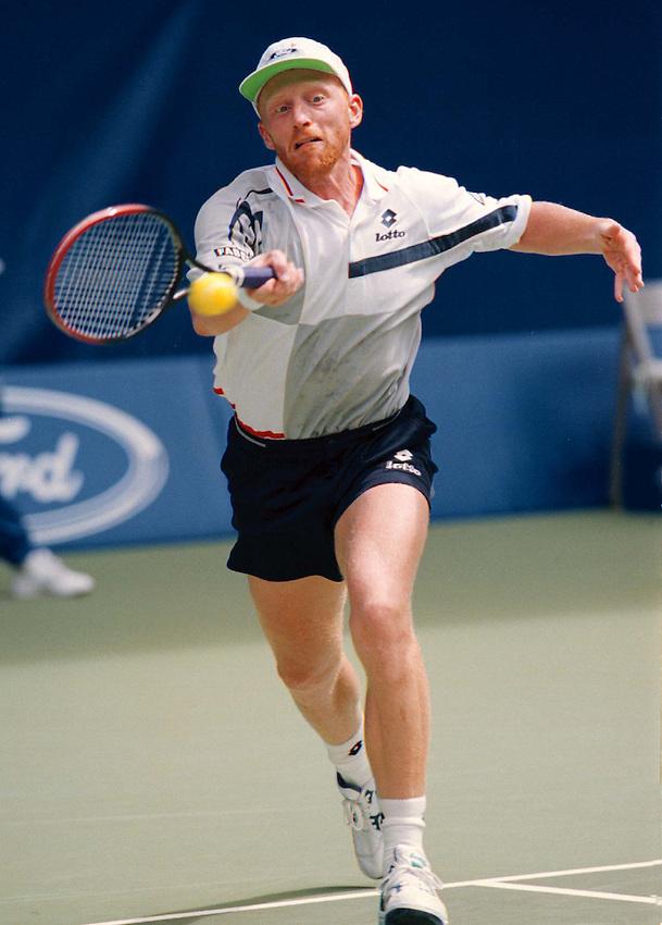 Photo. Abbey Wells.Austrailan Open, Melbourne, Austraila. 1996.Boris Becker