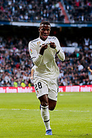 Real Madrid's Vinicius Jr. celebrates goal during La Liga match between Real Madrid and Real Valladolid at Santiago Bernabeu Stadium in Madrid, Spain. November 03, 2018. (ALTERPHOTOS/A. Perez Meca)<br /> Liga Campionato Spagna 2018/2019<br /> Foto Alterphotos / Insidefoto <br /> ITALY ONLY