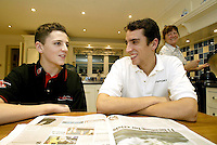 Sheffield born racing driver Justin Wilson pictured at family home in Sheffield pictured with brother Stephan and mum Lynn