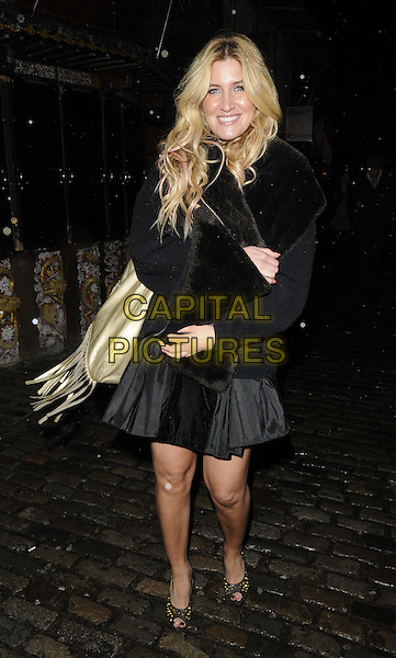 Francesca 'Cheska' Hull .attended Gabriella Ellis's new single 'What Do You Want From Me' launch party, Shaka Zulu bar & restaurant, The Stables Market, Chalk Farm Rd., London, England, 7th March 2013..full length black dress fur jacket peep toe shoes wrap scarf gold bag fringed tassels Made In Chelsea .CAP/CAN.©Can Nguyen/Capital Pictures.