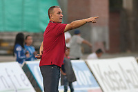 NEIVA - COLOMBIA, 19-08-2018: Nestor Craviotto técnico de Atlético Huila gesticula durante partido con Once Caldas por la fecha 5 de la Liga Águila II 2018 jugado en el estadio Guillermo Plazas Alcid de la ciudad de Neiva. / Nestor Craviotto coach of Atletico Huila gestures during match against Once Caldas for the date 5 of the Aguila League II 2018 played at Guillermo Plazas Alcid in Neiva city. VizzorImage / Sergio Reyes / Cont