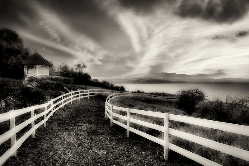 White fence at Kohola Ranch, Hawaii . The Big Island