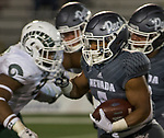 Nevada running back Jaxson Kincaide (5) runs against Colorado State in the second half of an NCAA college football game in Reno, Nev., Saturday, Oct. 27, 2018. (AP Photo/Tom R. Smedes)