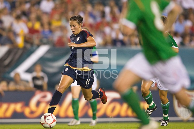 United States (USA) midfielder Carli Lloyd (11). The United States Women's National Team (USA) defeated the Republic of Ireland (IRL) 2-0 during an international friendly at Lincoln Financial Field in Philadelphia, PA, on September 13, 2008.