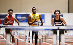 NAPERVILLE, IL - MARCH 11: David Benjamin of Rowan, center, competes in the 60 meter hurdles at the Division III Men's and Women's Indoor Track and Field Championship held at the Res/Rec Center on the North Central College campus on March 11, 2017 in Naperville, Illinois. (Photo by Steve Woltmann/NCAA Photos via Getty Images)