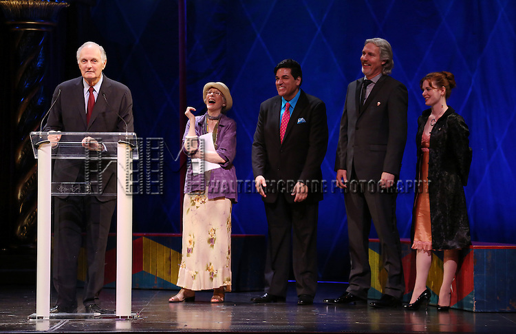 Alan Alda, Patricia Elliott, Dale Badway, Corey Brunish, Brisa Trinchero during the 69th Annual Theatre World Awards Presentation at the Music Box Theatre in New York City on June 03, 2013.
