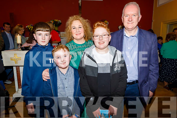 Harry Rusk from Tralee celebrating his Confirmation in St Brendan's Church, Ballmac on Thursday with his family.<br /> Front: Paddy and Harry Rusk.<br /> Back l to r: Jack Rusk, Brid McElligott and Robert Rusk