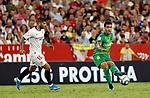 Real Sociedad's Mikel Merino and Sevilla FC's Ever Banega during La Liga match. Sep 29, 2019. (ALTERPHOTOS/Manu R.B.)