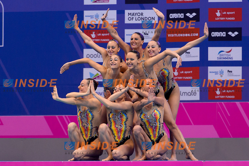 ITALY ITA ITALIA Bronze Medal <br /> BOZZO, CALLEGARI, CATTANEO, DEIDDA, FERRO, FLAMINI, PERRUPATO, SGARZI, CERRUTI, GALLI <br /> Team Technical Final <br /> London, Queen Elizabeth II Olympic Park Pool <br /> LEN 2016 European Aquatics Elite Championships <br /> Synchronized Swimming <br /> Day 01 09-05-2016<br /> Photo Andrea Staccioli/Deepbluemedia/Insidefoto