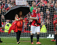 Pictured: Wayne Rooney (R) with young son and heavily pregnant wife Coleen (L). Sunday 12 May 2013<br /> Re: Barclay's Premier League, Manchester City FC v Swansea City FC at the Old Trafford Stadium, Manchester.