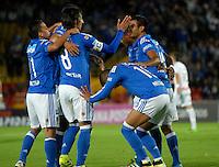 BOGOTA - COLOMBIA - 21 - 07 - 2016: Los jugadores de Millonarios, celebran el gol anotado a Once Caldas, durante partido adelantado de la fecha 11 entre Millonarios y Once Caldas, de la Liga Aguila II-2016, jugado en el estadio Nemesio Camacho El Campin de la ciudad de Bogota.  / The players of Millonarios celebrate the scored goal to Once Caldas, during an advance match between Millonarios and Once Caldas, for the date 11 of the Liga Aguila II-2016 at the Nemesio Camacho El Campin Stadium in Bogota city, Photo: VizzorImage / Luis Ramirez / Staff.
