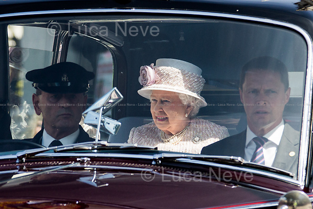 Her Majesty the Queen Elizabeth II.<br /> <br /> London, 15/08/2015. Today, the 70th Anniversary of the VJ Day (Victory over Japan Day - also known as Victory in the Pacific Day, V-J Day, or V-P Day - is the day on which Japan surrendered in World War II, in effect ending the II World War) was marked in Central London. The Commemoration started with a Saturday's service at St Martin-in-the-Fields church in Trafalgar Square attended by Her Majesty the Queen Elizabeth II (accompanied by The Duke of Edinburgh, The Earl and Countess of Wessex, and The Duke and Duchess of Gloucester), followed by a memorial ceremony at Horse Guard Parade, and finally veterans, war widows and members of their families marched in Whitehall praying and paying their tribute laying wreaths at the Cenotaph.<br /> <br /> For more information please click here: http://bit.ly/1LsUeyQ
