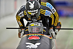 22 November 2009:  Karl Angerer, piloting the Germany 2 bobsled, leads his 4-man team to a 13th place finish at the FIBT World Cup competition, in Lake Placid, New York, USA. Mandatory Credit: Ed Wolfstein Photo