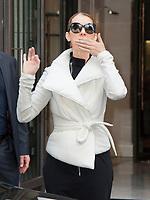 June 23, PARIS, FRANCE : Singer Céline Dion leaves the Royal Monceau Hotel on Avenue Hoche