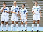 07 September 2007: Duke's CJ Ludemann (10), Sara Murphy (11), Lorraine Quinn (13), and Christie MacDonald (14). The Duke University Blue Devils defeated the Yale University Bulldogs 1-0 at Fetzer Field in Chapel Hill, North Carolina in an NCAA Division I Women's Soccer game, and part of the annual Nike Carolina Classic tournament.