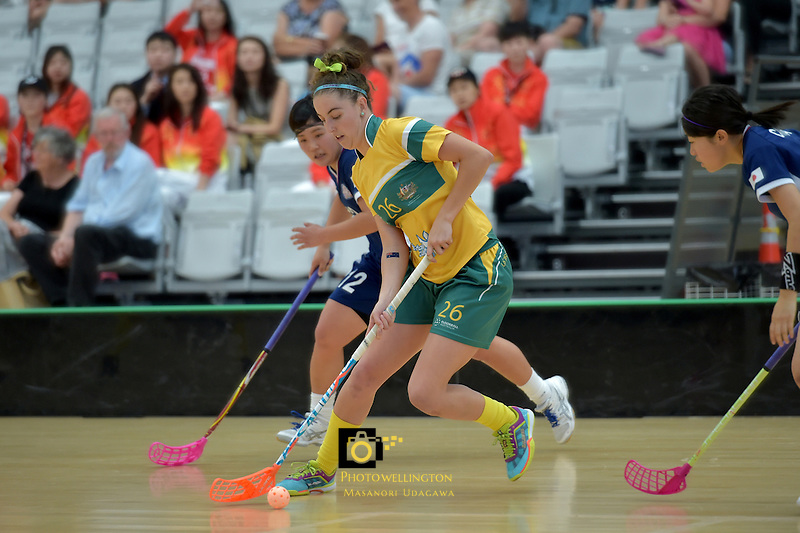 Australia's Kiahni Abell in action during the World Floorball Championships 2017 Qualification for Asia Oceania Region Final - Australia v Japan at ASB Sports Centre , Wellington, New Zealand on Sunday 5 February 2017.<br /> Photo by Masanori Udagawa<br /> www.photowellington.photoshelter.com.