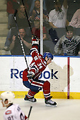 March 15, 2009:  Center David Brine (34) of the Rochester Amerks, AHL affiliate of Florida Panthers, celebrates a goal during the third period of a regular season game at the Blue Cross Arena in Rochester, NY.  Hamilton defeated Rochester 4-3 in a shoot out.  Photo Copyright Mike Janes Photography 2009