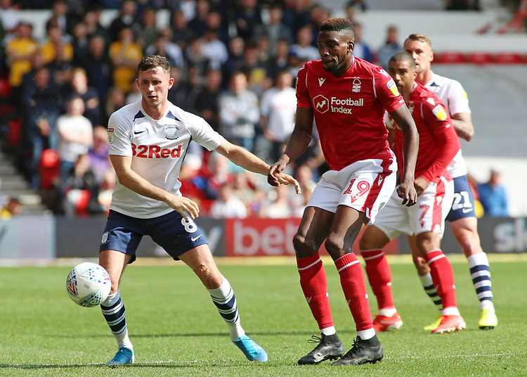 Preston North End's Alan Browne battles with Nottingham Forest's Sammy Ameobi<br /> <br /> Photographer David Shipman/CameraSport<br /> <br /> The EFL Sky Bet Championship - Nottingham Forest v Preston North End - Saturday 31st August 2019 - The City Ground - Nottingham<br /> <br /> World Copyright © 2019 CameraSport. All rights reserved. 43 Linden Ave. Countesthorpe. Leicester. England. LE8 5PG - Tel: +44 (0) 116 277 4147 - admin@camerasport.com - www.camerasport.com