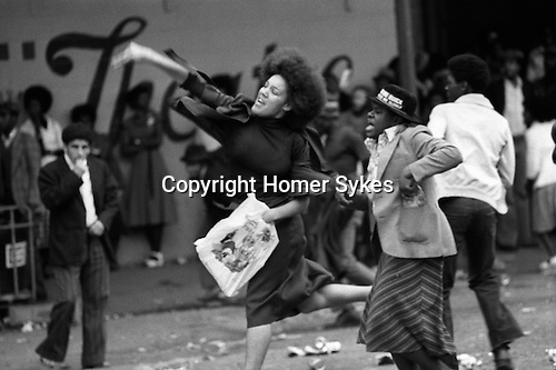 Nottinghill Gate Carnival race riot, London W11 England 1976.