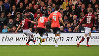 Lawson D'Ath of Northampton scores his teams second goal during the Sky Bet League 2 match between Luton Town and Northampton Town at Kenilworth Road, Luton, England on 12 December 2015. Photo by Liam Smith/Prime Media Images.