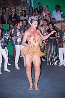 """SÃO PAULO, SP, 29.07.2018 - CARNAVAL-SP - A rainha de bateria Juju Salimeni durante a apresentação do samba 2019 da escola samba X-9 Paulistana apresentou seu samba """" O Show tem que continuar, meu lugar é cercado de luta é cercado de luta e suor, esperança de um mundo melhor"""" em homenagem a Arlindo Cruz  a escola que faz parte do grupo do especial do carnaval de São Paulo, neste domingo, 29. (Foto: Nelson Gariba/Brazil Photo Press)"""