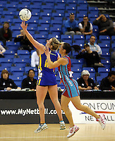 29.09.2014 Dunedin's Stacey Peeters in action during the Dunedin v Kapi Mana match duing the Lion Foundation Netball Champs at the Trusts Stadium in Auckland. Mandatory Photo Credit ©Michael Bradley.