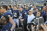 17 November 2012:  Penn State senior LB Michael Mauti (42) stands with his teammates and sings the Penn State Alma Mater after injuring his knee for a third time during the game. The Penn State Nittany Lions defeated the Indiana Hoosiers 45-22 at Beaver Stadium in State College, PA.