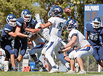 Palos Verdes, CA 09/24/16 - Dean Bishop-Gargaro (Chadwick #34), Ethan Gretzinger (Rolling Hills #5), Brevin Johnson (Rolling Hills #7) in action during the non-conference CIF 8-Man Football  game between Rolling Hills Prep and Chadwick at Chadwick.