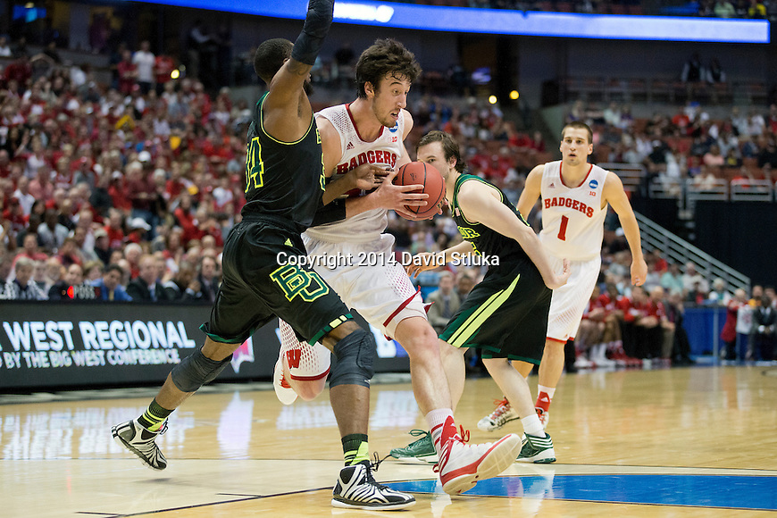 Wisconsin Badgers center Frank Kaminsky (44) handles the ball during  a regional semifinal NCAA college basketball tournament game against the Baylor Bears Thursday, March 27, 2014 in Anaheim, California. The Badgers won 69-52. (Photo by David Stluka)