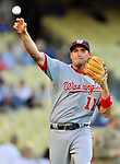 22 July 2011: Washington Nationals third baseman Ryan Zimmerman warms up prior to facing the Los Angeles Dodgers at Dodger Stadium in Los Angeles, California. The Nationals defeated the Dodgers 7-2 in their first meeting of the 2011 season. Mandatory Credit: Ed Wolfstein Photo