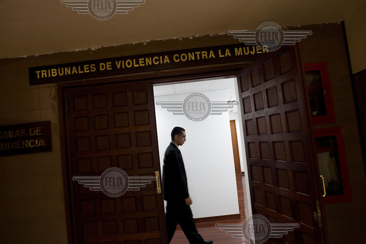 The entrance to the courtrooms of the Special Tribunals of Violence Against Women in the buildings of the Supreme Court.