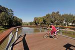 Israel, Tel Aviv-Yafo. Cycling in Hayarkon Park