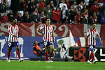 Atletico de Madrid's Cleber Santana, Pablo Ibanez and Simao Sabrossa dejected during La Liga match. October, 24 2009. (ALTERPHOTOS/Alvaro Hernandez).