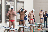 BERKELEY, CA - Feb. 18, 2017: Cal's Justin Lynch (2nd from left) prepares to swim in the Men 50 Yard Freestyle.  Cal Men's Swimming and Diving competed against Stanford at Spieker Aquatics Complex.