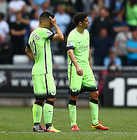 Sergio Aguero of Manchester City shows a look of dejection after Andre Ayew of Swansea City scores a goal to make the score 1-1 during the Barclays Premier League match between Swansea City and Manchester City played at The Liberty Stadium, Swansea on 15th May 2016