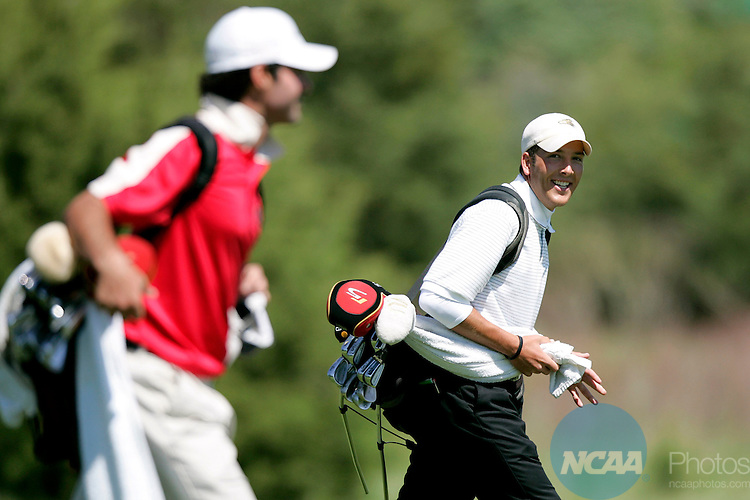 2006 MAY 11:  Tyler Lawson of Nebraska Wesleyan shares a laugh with Redlands' Trevor Young as they walk up the fairway during the 2006 Division 3 Men's Golf Championship held at Firethorn Golf Club in Lincoln, NE .  Lawson finished in a tie for 16th, but helped the Prarie Wolves take home their first team title.  Stephen Goodridge of the University of Rochester took home the individual title.  Trevor Brown, Jr./NCAA Photos