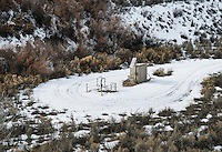 A drilling and natural gas well near the town of Parachute and village of Battlement Mesa, Colorado, Wednesday, February 21, 2013. Fracking has been a hot topic for the area around Battlement Mesa and Parachute, Colorado with concerned citizens wanting more studies on potential health issues and drilling companies growing their operations.<br /> <br /> Photo by Matt Nager