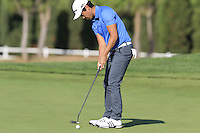 Daniel Im (USA) putts on the 14th green during Thursday's Round 1 of the 2016 Portugal Masters held at the Oceanico Victoria Golf Course, Vilamoura, Algarve, Portugal. 19th October 2016.<br /> Picture: Eoin Clarke | Golffile<br /> <br /> <br /> All photos usage must carry mandatory copyright credit (&copy; Golffile | Eoin Clarke)