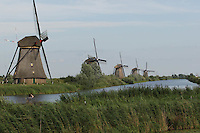 NETHERLANDS, KINDERDIJK :  2010-08-20  - The windmills of Kinderdijk are on the World Heritage list of Unesco since 1997. The 19 windmills, are a touristic attraction. They can only be viewed on foot or bike.