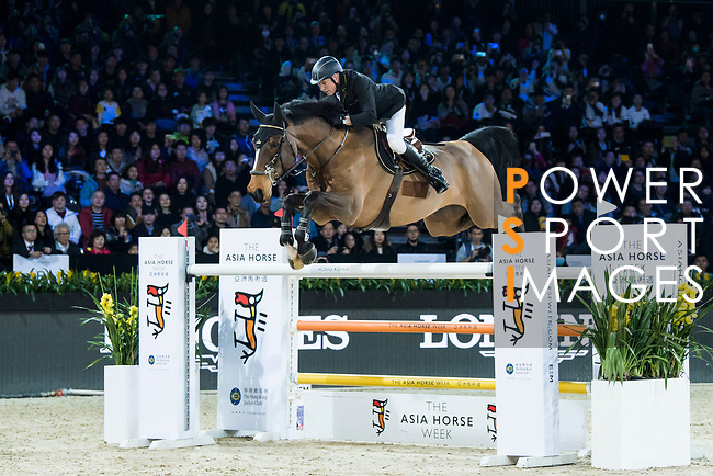 John Whitaker of Great Britain riding Crumley competes in the Hong Kong Jockey Club Trophy during the Longines Masters of Hong Kong at the Asia World Expo on 09 February 2018, in Hong Kong, Hong Kong. Photo by Diego Gonzalez / Power Sport Images