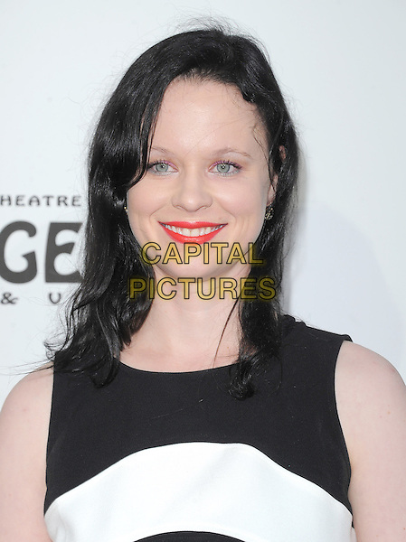 "Thora Birch.""The Book of Mormon"" Hollywood Opening night Held At The Pantages theatre, Hollywood, California, USA..September 12th, 2012.headshot portrait red lipstick black white sleeveless stripe.CAP/DVS.©DVS/Capital Pictures."