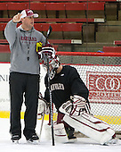 Albie O'Connell (Harvard - Assistant Coach) - The Harvard University Crimson practiced on Friday, October 22, 2013, at Bright-Landry Hockey Center in Cambridge, Massachusetts.