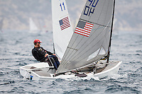 20140401, Palma de Mallorca, Spain: SOFIA TROPHY 2014 - 850 sailors from 50 countries compete at the ISAF Sailing World Cup event. Finn - USA40 - Luke Lawrence. Photo: Mick Anderson/SAILINGPIX.